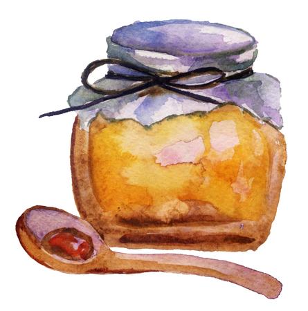 Jar with honey on white background