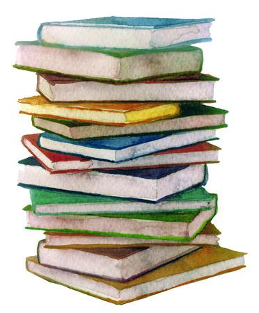 Aquarel stapel boeken