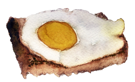 side dish: watercolor fried egg on a white background Stock Photo