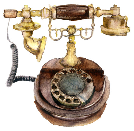 telephone: Watercolor old telephone on white Stock Photo