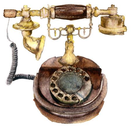 Waterverf oude telefoon op wit
