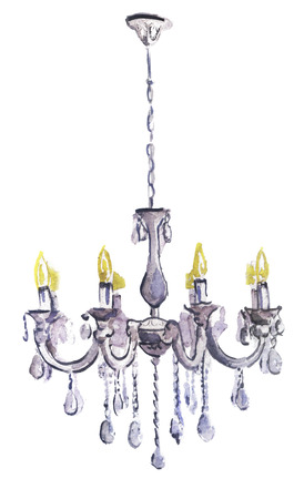 watercolor chandelier on a white background
