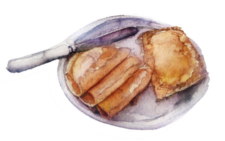 watercolor sandwich on white background Stok Fotoğraf - 65496478