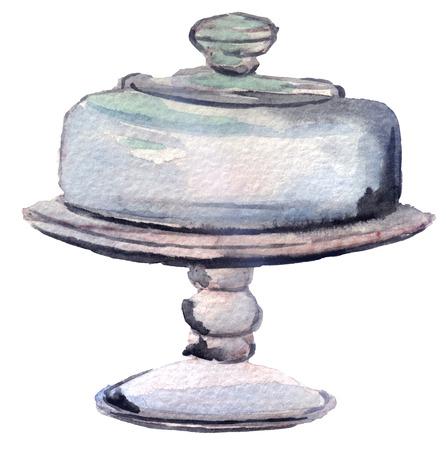 confiture: watercolor Glassware for dessert