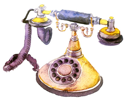 Watercolor old telephone on white 写真素材