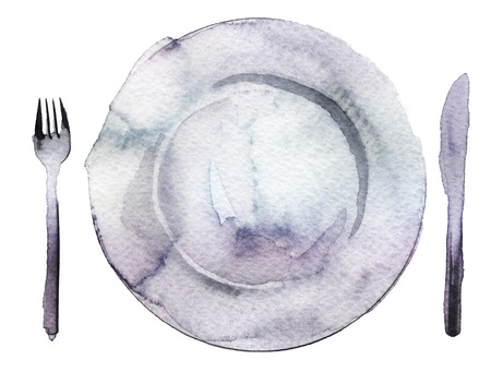 empty plate: watercolor empty plate and cutlery Stock Photo