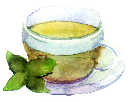 watercolor cup of tea on white Stock Photo