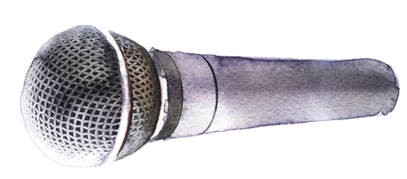 watercolor microphone on a white background