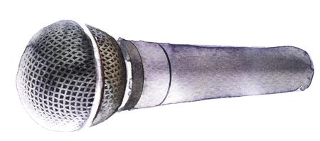 waterverfmicrofoon op een witte achtergrond