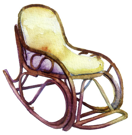 watercolor rocking chair on a white background