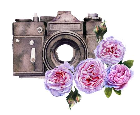 Aquarel camera geïsoleerd op een witte achtergrond