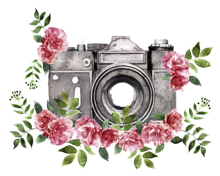 watercolor camera isolated on white background Stock Photo
