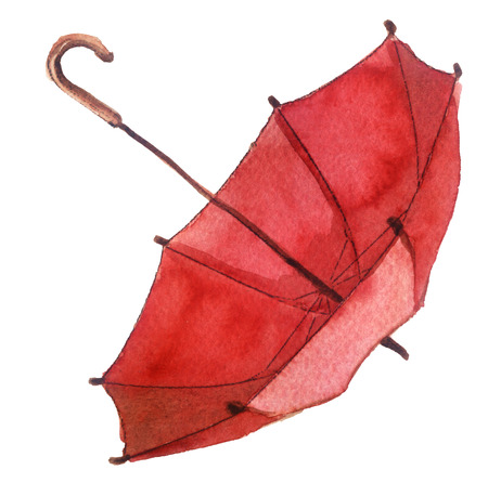 watercolor sketch of an umbrella on a white background Stock Photo