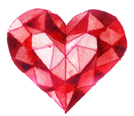 crystal heart: watercolor sketch: crystal heart on a white background