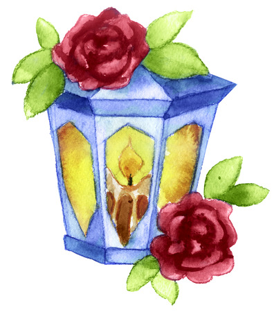watercolor sketch: Lantern tattoo on a white background Stock Photo