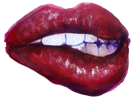 watercolor sketch of lips on white background