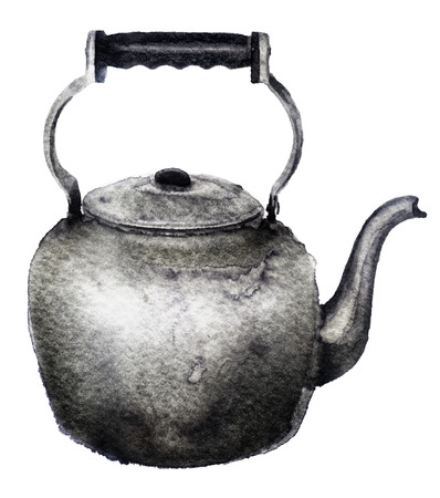 watercolor sketch of a kettle on a white background