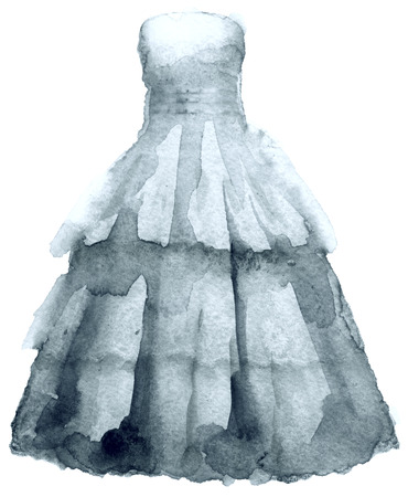 watercolor sketch of a dress on a white background Stock Photo