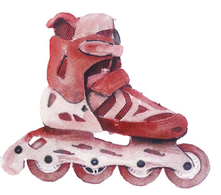 watercolor sketch of a roller skate on a white background