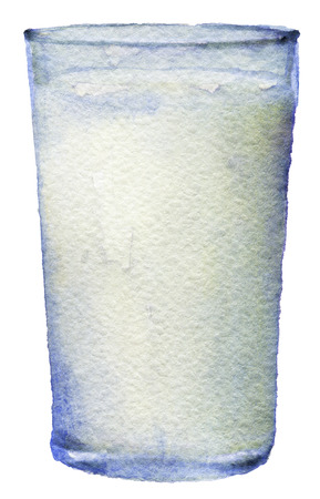 watercolor sketch of glass of milk on a white background