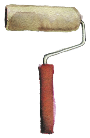 watercolor sketch of paint roller on a white background