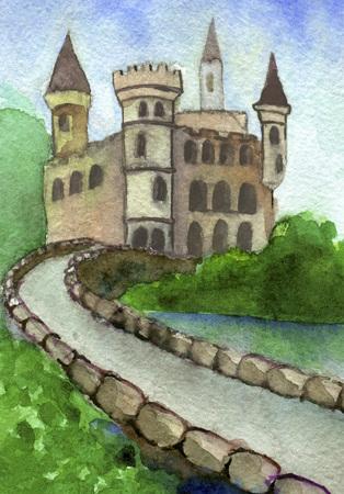 trabajo manual: Gráfico de la acuarela del castillo en el verano