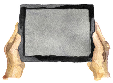 watercolor sketch of tablet on a white background