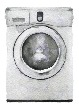 watercolor sketch of washing machine on a white background