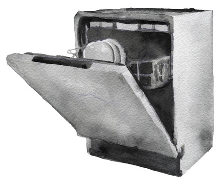 rinse: watercolor sketch of dishwasher machine on a white background