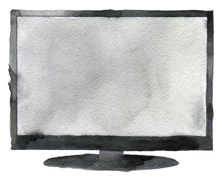 hdtv: watercolor sketch of tv creen a white background