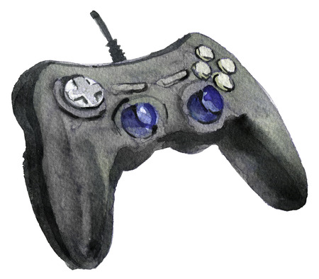 watercolor sketch of joystick background Stock Photo