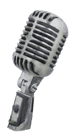 bunt: watercolor sketch of microphone on a white background Stock Photo