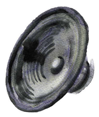 watercolor sketch of speakers on a white background. Smartphone