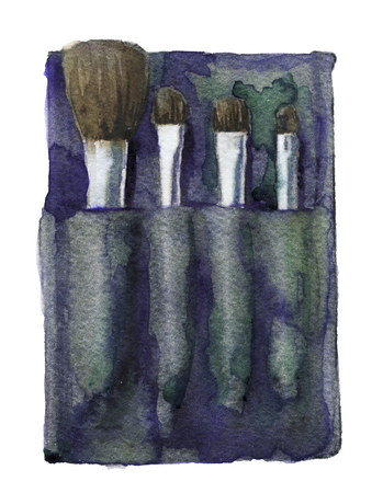 grooming product: watercolor sketch of Make-up Brushes on a white background