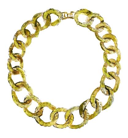 Aquarellskizze der Goldkette auf einem weißen Hintergrund Standard-Bild - 66207919