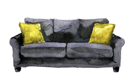 contemporary living room: watercolor sketch of sofa on a white background