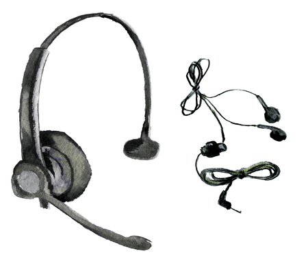 watercolor sketch of headphones on a white background Stock Photo