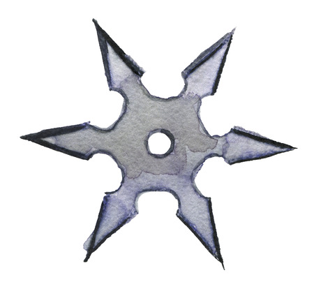 watercolor sketch of shuriken on white background Stock Photo
