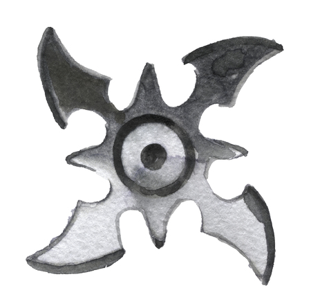 spiked: watercolor sketch of shuriken on white background Stock Photo