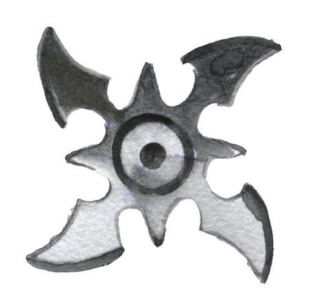 sports symbols metaphors: watercolor sketch of shuriken on white background Stock Photo