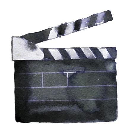 watercolor sketch of clapperboard on white background Banco de Imagens
