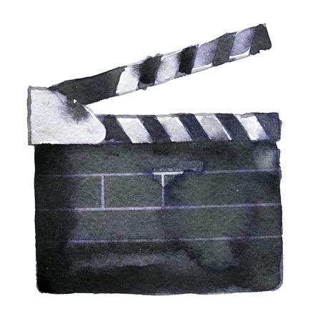 waterverfschets van clapperboard op een witte achtergrond Stockfoto