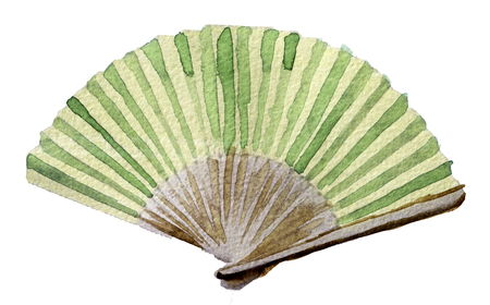 watercolor sketch of hand fan on white background