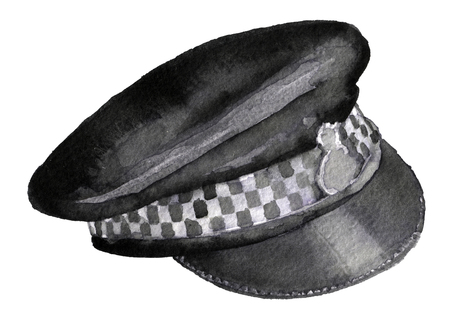 cockade: watercolor sketch of police cap on white background