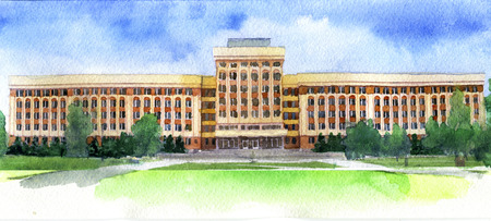 watercolor sketch of university on white background