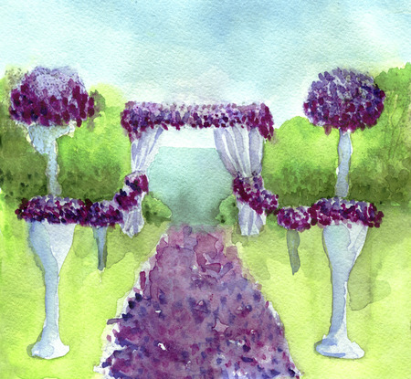 Watercolor sketch of Wedding archway with flowers arranged in park for a wedding ceremony