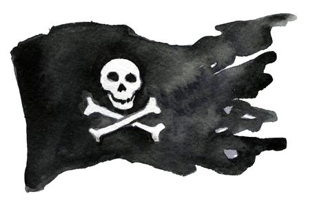 drapeau pirate: aquarelle croquis de drapeau de pirate sur fond blanc