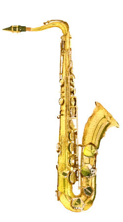 woodwind: watercolor sketch of saxophone on white background