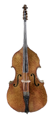 watercolor sketch of cello on white background