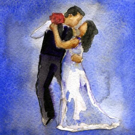 watercolor sketch of wedding dance of bride and groom